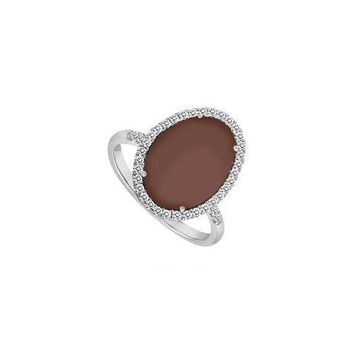 Sterling Silver Chocolate Chalcedony and Diamond Ring 16.00 CT TGW