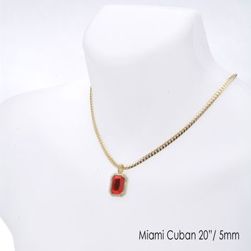 "Jewelry Kay style Men's Iced Red Ruby Pendant 20"" / 22"" Miami Cuban Chain Necklace Set MCP 1201 G"