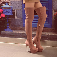 New Womens Side Zip Platform Stiletto High Heel Over the Knee Boots Sexy Shoes