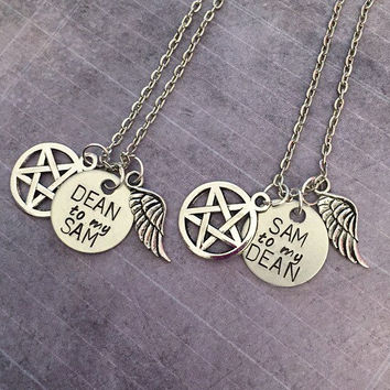Dean To My Sam Sam To My Dean Best Friends Necklaces - Sam and Dean Winchester Necklaces - Supernatural Jewelry - Team Free Will Jewelry
