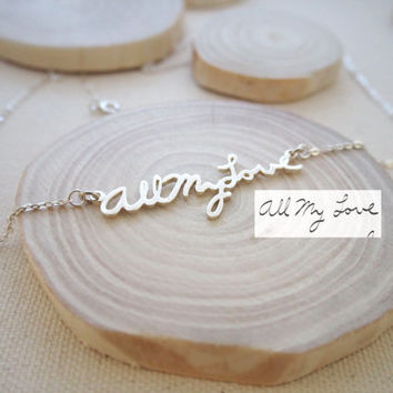 SALE Memorial Signature Necklace - Personalized Handwriting Necklace - Keepsake Jewelry in Sterling Silver - Bridesmaid Gift - MOTHER GIFT