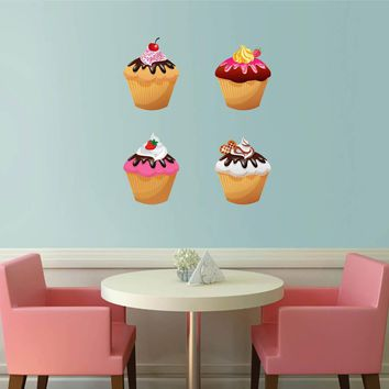 cik802 Full Color Wall decal Showcases cupcake baked food cafe snack shop