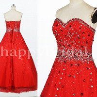 Elegant Red Beaded Ball Gown Evening Dresses Prom Dresses Party Dresses Homecoming Dresses 2014 Wedding Occasions