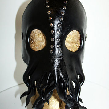 Leather Fetish Mask ,Cthulhu Lovecraft, leather made to order mask, cephalopod squid horror