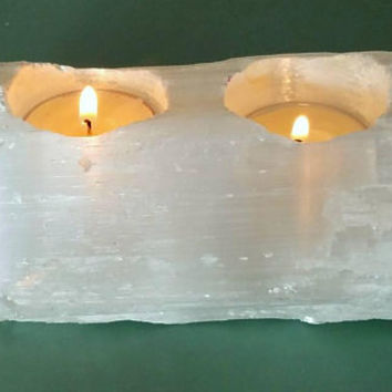 Raw Selenite Wand Double Tea Candle Holder Pagan Wiccan Witch Home Room and Altar Cleansing Aura Purifying Candle Holder
