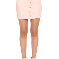 Button Up Peach Jean Mini Skirt