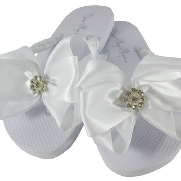 Flat White Daisy Wedding Flip Flops with Satin Bows