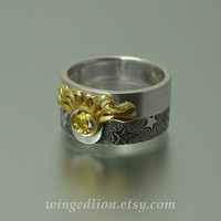 Sun and Moon ECLIPSE Engagement Ring and Wedding Band Set in 18K gold and silver