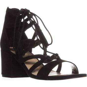 Marc Fisher  Rayz Lace Up Sandals, Black Suede, 6 US
