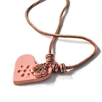 Terracotta Heart Essential Oil Diffuser Necklace