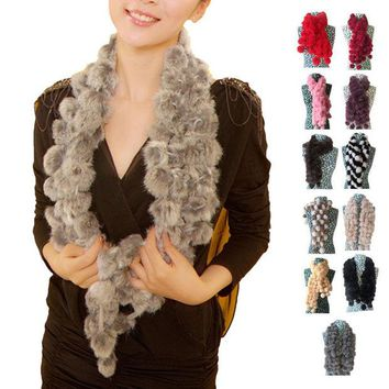 ONETOW Stylish New Women Winter Imitate Rabbit Fur Scarf Lady Casual Fur Scarves Fur Ball
