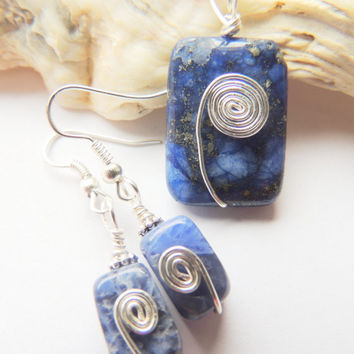 Lapis Sodalite Silver Hand Crafted Wire Wrapped Spiral Pendant Earring Jewelry Gift Set