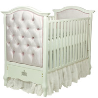 Tufted Upholstered Panel Crib Majestic Lilac Mist