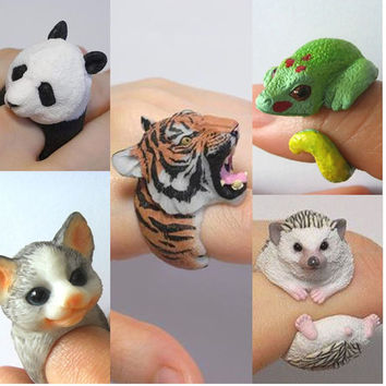 Wedding bend rings funny trency women 3D animal ring Hedgehog Panda Dog Pig Tiger Squirrel Lizard Bear Cat Parrot