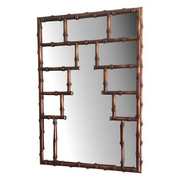 Pre-owned Large Chinoiserie Faux Bamboo Mirror