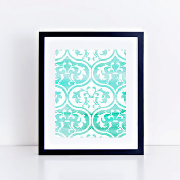 Watercolor Moroccan Tile Print // Choose From 5 Colors // Home Decor // Watercolor Print // Gallery Wall Print
