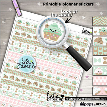Printable Planner Stickers, Erin Condren, Washi Tape, Kawaii Stickers, Work Stickers, Life Planner, Instant Download, Planner Accessories