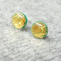SALE FREE SHIPPING Emerald green-gold round stud earrings. Valentine Day Jewelry. Polymer clay studs with real gold leaf. Circle post earrin
