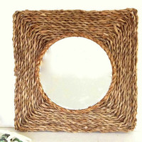 Seagrass Mirror Beach Decor rope wall mirror Braided natural sea grass Key West Rustic Coastal Nautical Decor round square rope sisal mirror