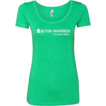 Buy Cool Shirts Autism Awareness Time to Listen Ladies Scoop Neck Shirt