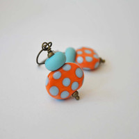 Orange Polka Dot Earrings, Lampwork Earrings, Colorful Earrings, Glass Bead Earrings, Whimsical Earrings