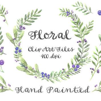 Purple Berries Floral Watercolor ClipArts Scrapbook Digital Files Download Wedding Invitation Purple Leaves Flowers Wreath Printable Sale