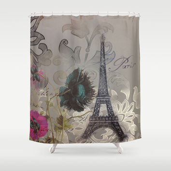elegant poppy flowers damask vintage paris Eiffel Tower botanical art Shower Curtain by Chicelegantboutique