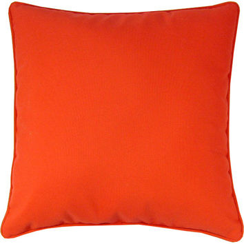 "Sunbrella Logo Red Indoor/Outdoor Pillow, 18"" x 18"""