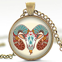 Aries Necklace, Zodiac Jewelry, Aries Charm, Astrology Pendant, Your Choice of Finish (499)