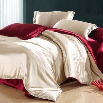 Noble Camel and Red Luxury 4-Piece Cellosilk Duvet Cover Sets