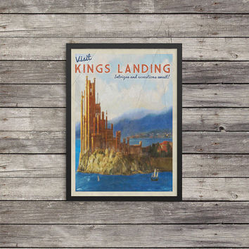 Kings Landing Travel Poster | GOT poster |  Vintage look print | Vintage travel |Fantasy travel poster