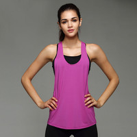 Women Yoga Sports Vest Fitness Tank Top Active Workout Yoga Clothes Sleeveless T-Shirt Running Gym Jogging Vest
