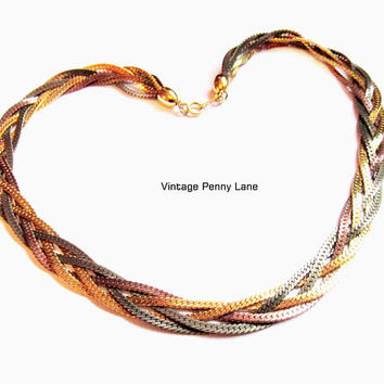Vintage Necklace, Tri Colored Metal Braided Chain