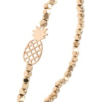 PINEAPPLE CUT OUT METAL BEAD STRETCH BRACELET