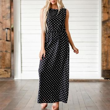 Dot Print Vintage Party Long Women Dress