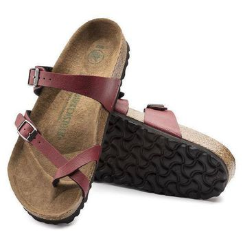 DCCK1 Birkenstock Mayari Birko Flor Pull Up Bordeaux 1009516/1009517 Sandals