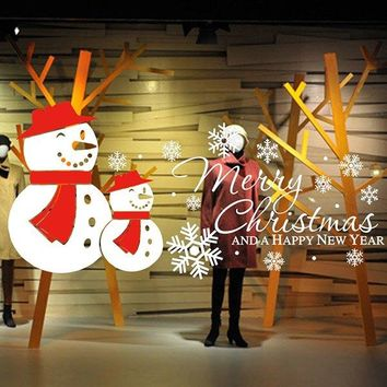 Antibacterial Removeable Merry Christmas Snow Man Wall Sticker