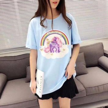 NOV9O2 Moschino Rainbow Unicorn Pony Blue Short Sleeved T Shirt