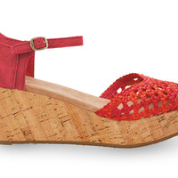 TOMS Raspberry Satin Woven Women's Platform