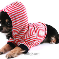 Dog Hoodie MEDIUM Spring nautical red stripe dog hoodie