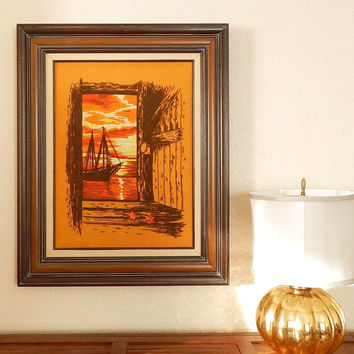 Vintage 70s Large Ship at Sunset Retro Crewel Embroidery - Wood Framed Orange and Brown Nautical Crewelwork