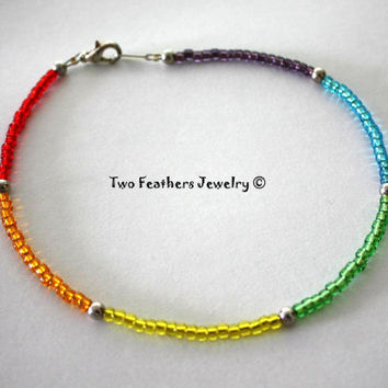 Rainbow Anklet - Beaded Anklet - Glass Beads - Silver Beads - Hippie Anklet - Bohemian - Ankle Bracelet - Gift For Her - Colorful Anklet
