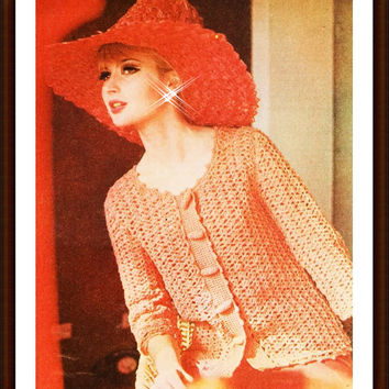 CROCHET PATTERN Vintage Peach Dinner Jacket toggle cardigan sweater Instant Download PDF Summer Button Up Blouse Top crochet patterns vtg