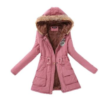 Z&I Warm Parkas Women Coat Fashion Autumn Winter Jacket Women Fur Collar Long Parka Plus Size Hoodies Casual Cotton Outwear