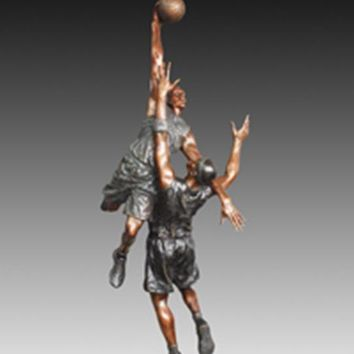 Europe Classical casting hoopman Bronze  statues  basketball players schoolyard Decoration art collectible
