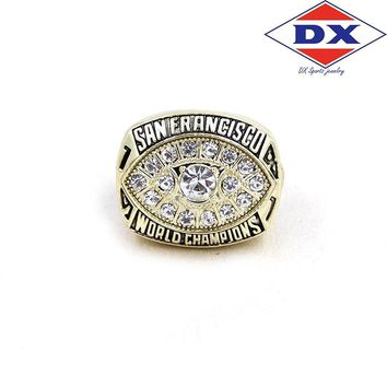 Drop shipping zinc alloy 1981 San Francisco The 49ers Championship Rings set With Wooden Box Support for custom