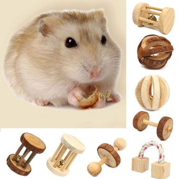 Natural Pine Dumbells Unicycle Bell Roller Chew Toys For Guinea Pigs Rat Rabbits Small kitten puppy small wooden pet toys