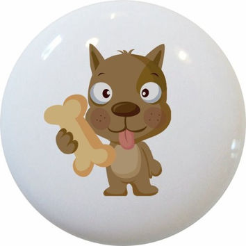 Carolina Hardware and Decor 1158 Dog with Bone Children's Ceramic Cabinet Drawer Knob