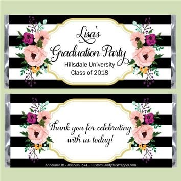 Floral Border Graduation Candy Bar Wrappers
