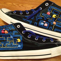 Pacman Hand Painted Custom Converse Shoes